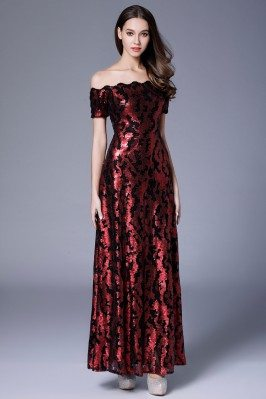 Burgundy Sequin Off Shoulder Long Formal Dress