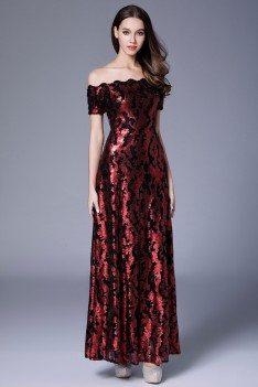 Burgundy Sequin Off Shoulder Long Formal Dress