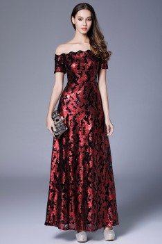 Burgundy Sequin Off Shoulder Long Formal Dress - CK635