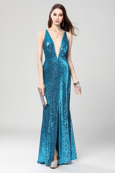 Sexy Sequins V-neck Backless Evening Dress
