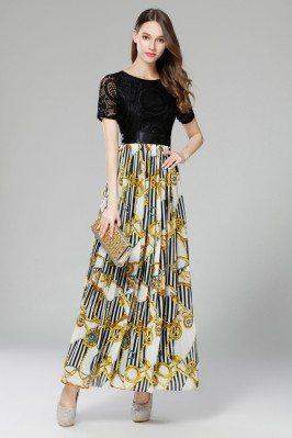 Vintage Black Lace And Floral Long Party Dress