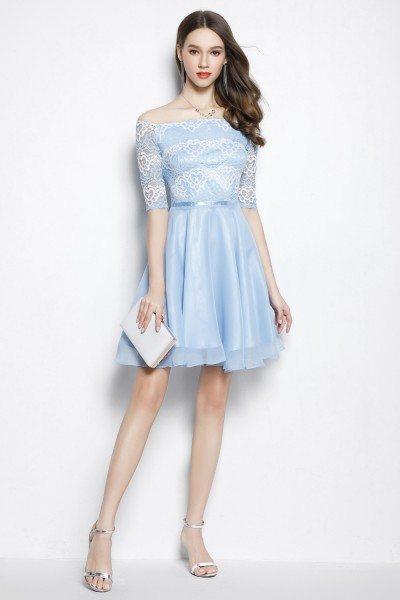 Blue Lace Off Shoulder Short Party Dress