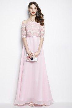 Pink Chiffon Lace Off Shoulder Long Prom Dress - CK2024