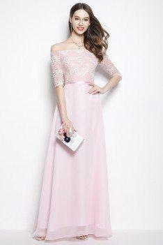 Pink Chiffon Lace Off Shoulder Long Prom Dress 78 Ck2024 Shepromcom