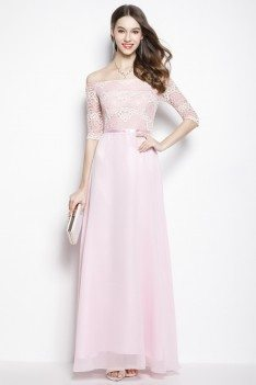 Pink Chiffon Lace Off Shoulder Long Prom Dress