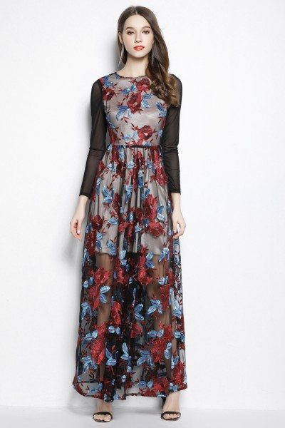Organza Embroidery Long Sleeve Prom Dress