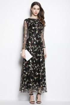 Black Organza Floral Long Party Dress Long Sleeves