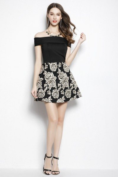 Black Off The Shoulder Fit And Flare Short Dress