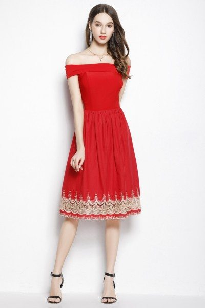 Red Off The Shoulder Embroidery Short Dress