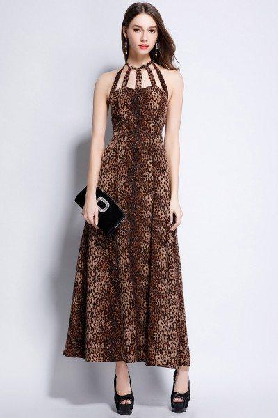 Leopard Halter Open Back Maxi Party Dress