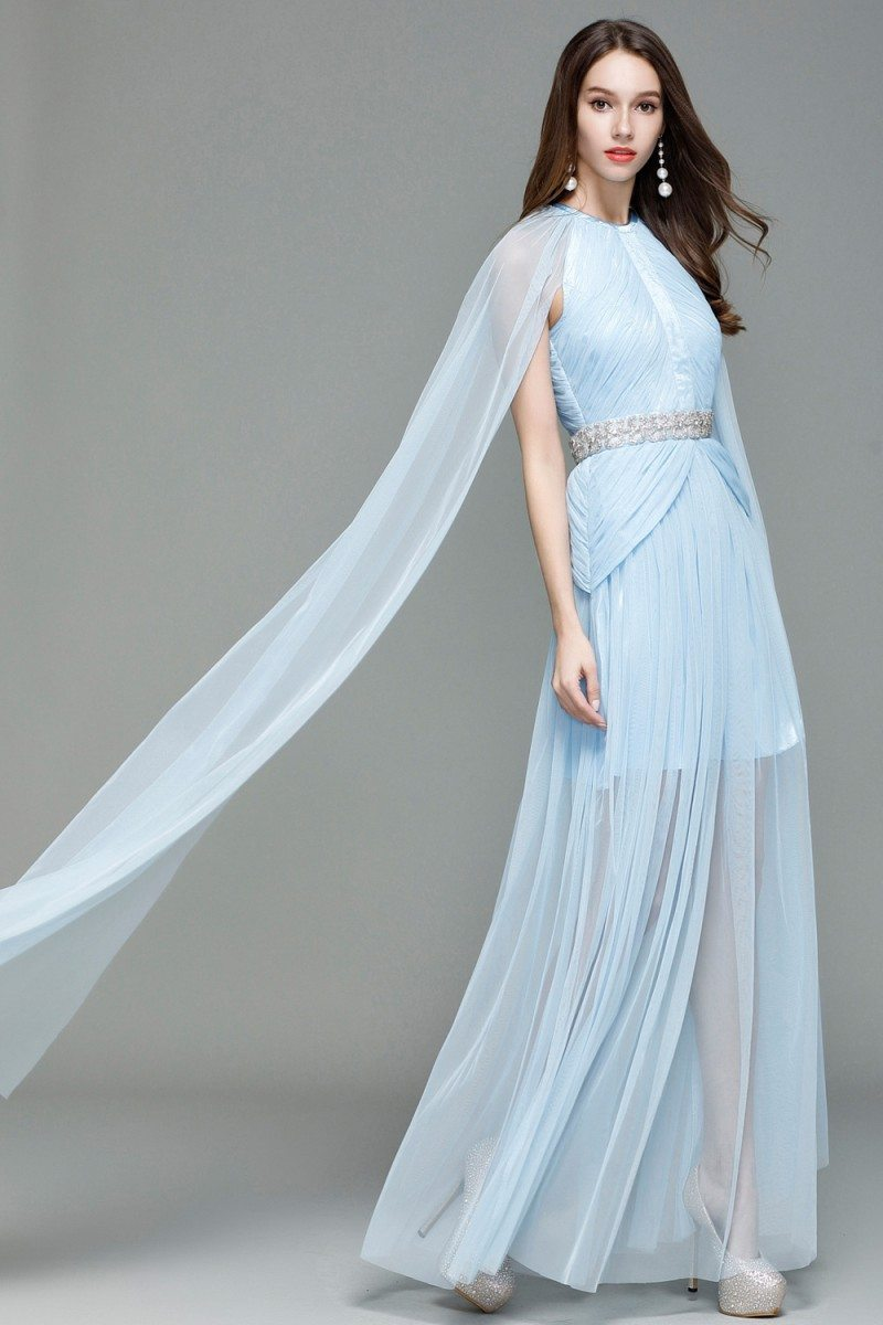 Celebrity Blue Cape Style Long Formal Dress - $124 #CK7151 - SheProm.com