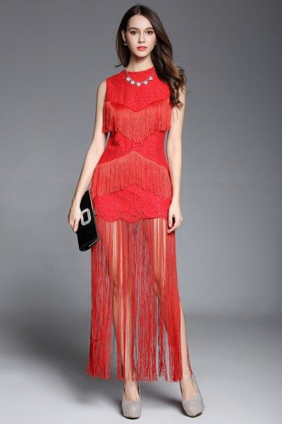 Fringe Lace Red Sleeveless Party Dress