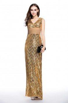 Sequin Double V-neck Sheath Formal Dress