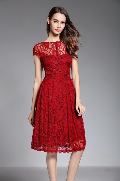 Burgundy Lace Short Dress With V Back
