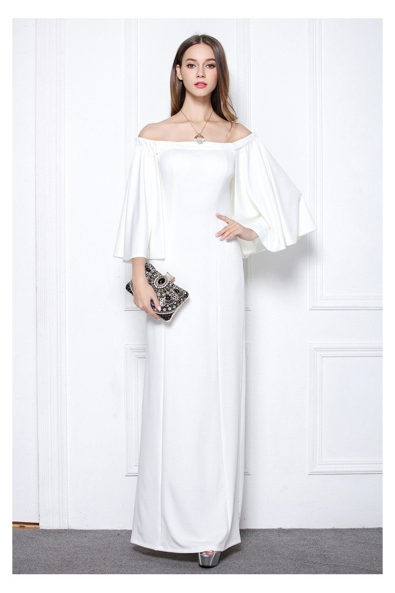 White Off The Shoulder Long Formal Dress With Butterfly