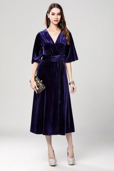 Purple Velvet Midi Party Dress With Half Sleeves