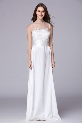 Sleeveless Pure White Long Evening Dress