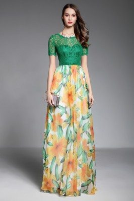 Lace Top Floral Long Party Dress With Sleeves