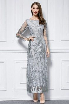 Embroidery Tulle Long Sleeve Formal Dress