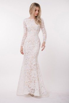 Fitted Mermaid Long Sleeve Embroidery Backless Prom Dress