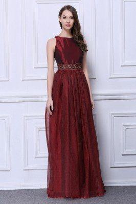 Floor Length Empire Line Beaded Formal Dress