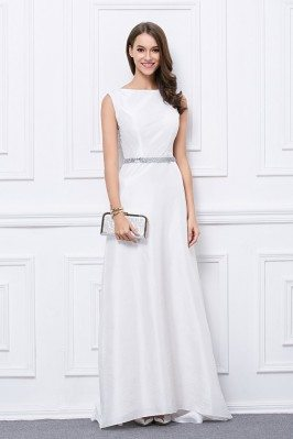 White Taffeta Sequins Formal Evening Dress