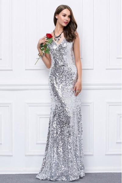 Sparkly Sequin V-neck Long Formal Dress