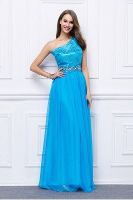 Beaded One Shoulder Long Formal Gown Onsale