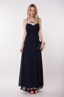 Chiffon Beaded Open Back Long Party Dress