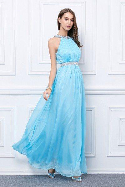 Blue Beaded Chiffon Long Halter Formal Dress