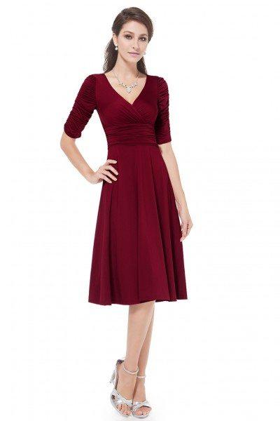 Burgundy V-neck 3/4 Sleeve High Stretch Short Casual Dress - AS03632BD