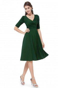 Dark Green V-neck 3/4 Sleeve High Stretch Short Casual Dress - AS03632DG