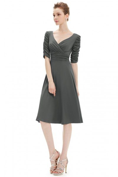 Charcoal V-neck 3/4 Sleeve High Stretch Short Casual Dress