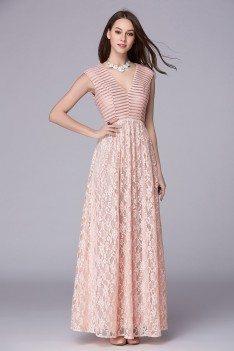 Pink Sequins V-neck Long Lace Party Dress