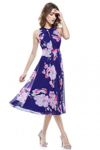 Floral Printed Halter Short Dress - AS05452SB