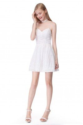 White Sleeveless Lace Short...
