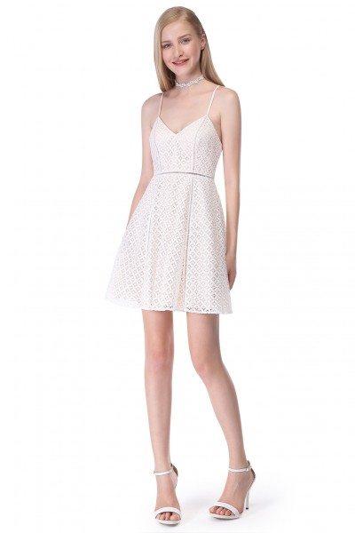 White Spaghetti Straps Sleeveless Lace Short Dress
