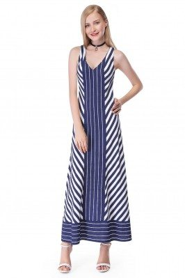 Women'S Blue Striped Casual...
