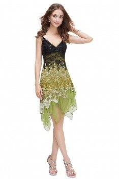 Green Flowing Sequined Lace Short Party Dress - EP00045GR