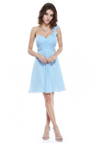 Blue One Shoulder Flowers Padded Ruffles Bridesmaid Dress