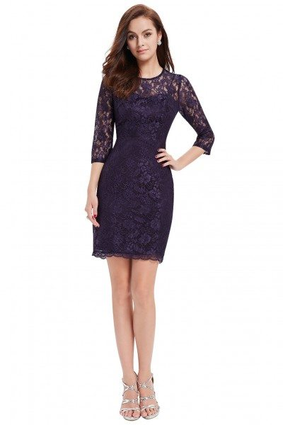 Dark Purple 3/4 Sleeve Slim Fit Bodycon Lace Cocktail Dress