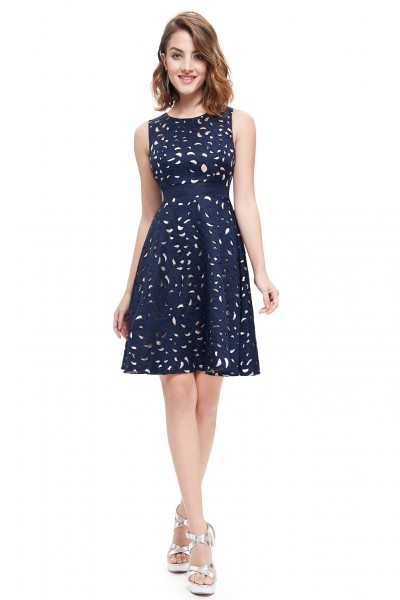 Simple Navy Blue Short Casual Dress