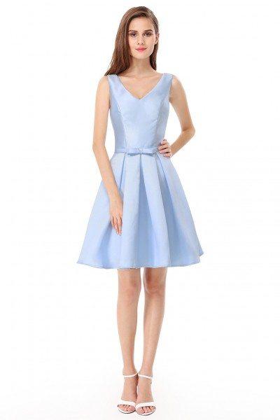 Women's Elegant V-Neck Blue Short Evening Party Dress