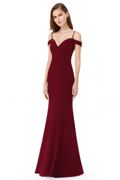 Burgundy Off-the-shoulder Sleeveless Long Evening Party Dress - EP07017BD