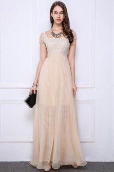 Lace Chiffon Short Sleeve Long Dress