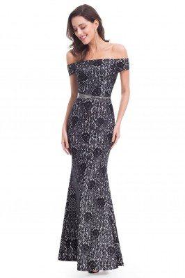 Black Lace Off-The-Shoulder...