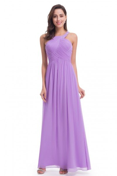 Lavender Halter Long Evening Party Dress - EP07058LV