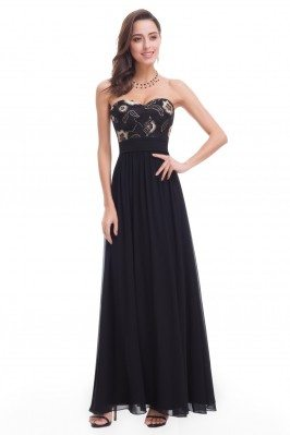 Black Strapless Long...