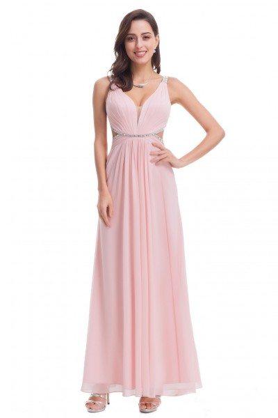Sexy Pink Open Back V-Neck Long Prom Dress - EP07081PK