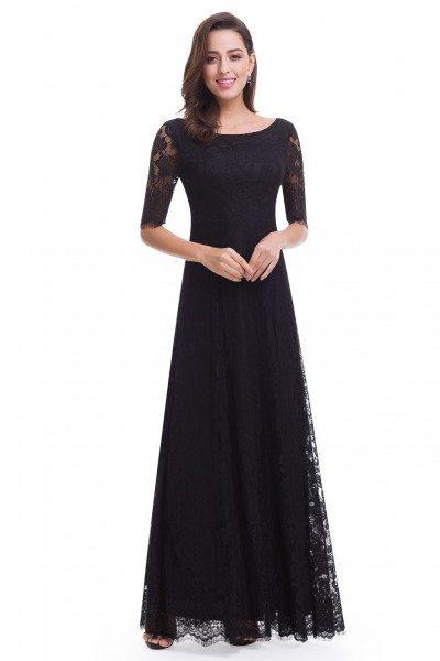 Elegant Lace Half Sleeve Long Black Evening Party Dress